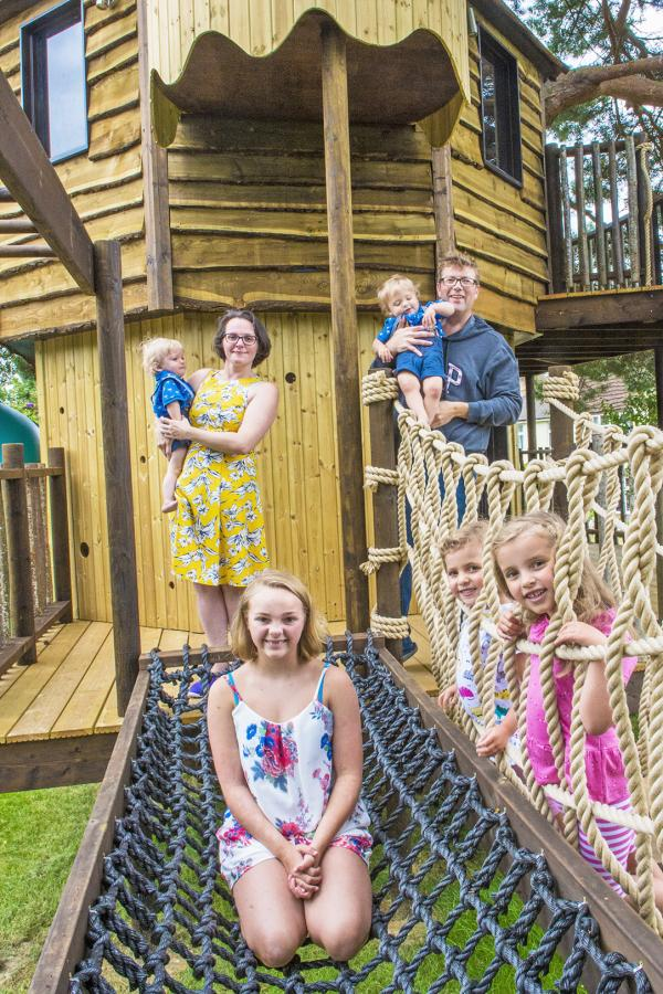 The two-storey treehouse has climbing wall, slide, sandpit, monkey bars and rope bridge